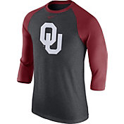 Nike Men's Oklahoma Sooners Grey/Crimson Baseball Tri-Blend Logo Raglan Shirt
