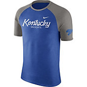 Nike Men's Kentucky Wildcats Blue/Grey Script Tri-Blend Raglan T-Shirt
