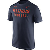 Nike Men's Illinois Fighting Illini Blue Football Sideline Facility T-Shirt