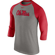 Nike Men's Ole Miss Rebels Grey/Red Baseball Tri-Blend Logo Raglan Shirt