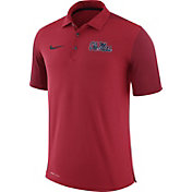 Nike Men's Ole Miss Rebels Red Team Issue Football Sideline Performance Polo