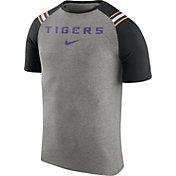 Nike Men's LSU Tigers Grey/Black Shoulder Stripe T-Shirt