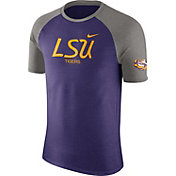 Nike Men's LSU Tigers Purple/Grey Script Tri-Blend Raglan T-Shirt