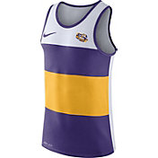 Nike Men's LSU Tigers White/Purple/Gold Wide Stripe Dri-Blend Tank