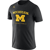 Jordan Men's Michigan Wolverines Black Dri-FIT Cotton Basketball T-Shirt
