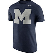 Nike Men's Michigan Wolverines Heathered Blue Tri-Blend Stamp T-Shirt