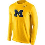 Nike Men's Michigan Wolverines Maize Logo Long Sleeve Shirt
