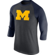 Nike Men's Michigan Wolverines Grey/Blue Baseball Tri-Blend Logo Raglan Shirt