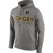 Nike Men's Michigan Wolverines Grey Circuit Performance Football Hoodie
