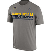 Jordan Men's Michigan Wolverines Grey Legend Staff Sideline T-Shirt