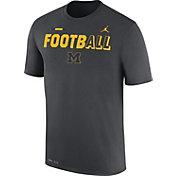Jordan Men's Michigan Wolverines Anthracite FootbALL Sideline Legend T-Shirt