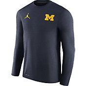 Jordan Men's Michigan Wolverines Heathered Blue Football Coach Dri-FIT Touch Sideline Long Sleeve Shirt