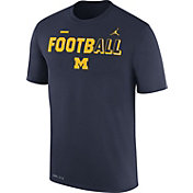 Jordan Men's Michigan Wolverines Blue FootbALL Sideline Legend T-Shirt