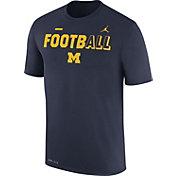 Jordan Men's Michigan Wolverines Blue FootbALL Sideline Legend T-Shirt