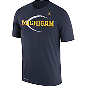 Jordan Men's Michigan Wolverines Blue Football Icon Legend T-Shirt