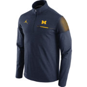 Jordan Men's Michigan Wolverines Blue Elite Coaches Half-Zip Shirt
