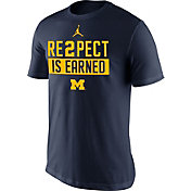 Jordan Men's Michigan Wolverines Blue 'RE2PECT is Earned' T-Shirt