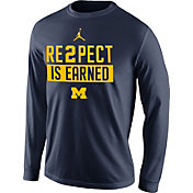 Jordan Men's Michigan Wolverines Blue 'RE2PECT is Earned' Long Sleeve Shirt