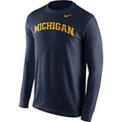 Nike Men's Michigan Wolverines Blue Wordmark Long Sleeve Shirt