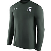 Nike Men's Michigan State Spartans Heathered Green Football Coach Dri-FIT Touch Sideline Long Sleeve Shirt