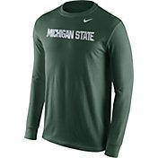 Nike Men's Michigan State Spartans Green Wordmark Long Sleeve Shirt