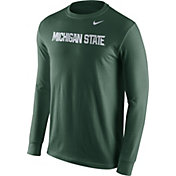 Nike Men's Michigan State Spartans Green Wordmark Long Sleeve Shirt