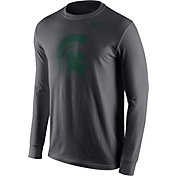 Nike Men's Michigan State Spartans Anthracite Logo Long Sleeve Shirt