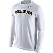 Nike Men's Michigan Wolverines White Wordmark Long Sleeve Shirt