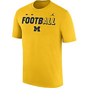 Jordan Men's Michigan Wolverines Maize FootbALL Sideline Legend T-Shirt