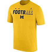 Jordan Men's Michigan Wolverines Maize FootbALL Sideline Legend T-Shirt