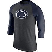 Nike Men's Penn State Nittany Lions Grey/Blue Baseball Tri-Blend Logo Raglan Shirt