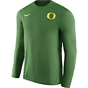 Nike Men's Oregon Ducks Heathered Apple Green Football Coach Dri-FIT Touch Sideline Long Sleeve Shirt