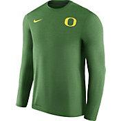 Nike Men's Oregon Ducks Heathered Apple Green Football Coach Dri-FIT Touch Sideline Long Sleeve Shirt