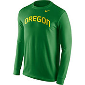 Nike Men's Oregon Ducks Apple Green Wordmark Long Sleeve Shirt