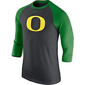 Nike Men's Oregon Ducks Grey/Apple Green Baseball Tri-Blend Logo Raglan Shirt
