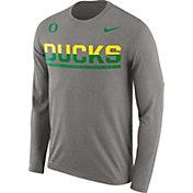 Nike Men's Oregon Ducks Grey Staff Sideline Long Sleeve Shirt