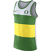 Nike Men's Oregon Ducks White/Apple Green/Yellow Wide Stripe Dri-Blend Tank