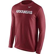 Nike Men's Arkansas Razorbacks Cardinal Wordmark Long Sleeve Shirt