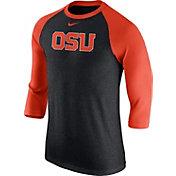 Nike Men's Oregon State Beavers Grey/Orange Baseball Tri-Blend Logo Raglan Shirt