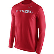 Nike Men's Rutgers Scarlet Knights Scarlet Wordmark Long Sleeve Shirt