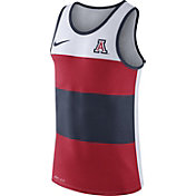 Nike Men's Arizona Wildcats White/Cardinal/Navy Wide Stripe Dri-Blend Tank
