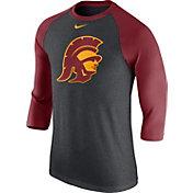 Nike Men's USC Trojans Grey/Cardinal Baseball Tri-Blend Logo Raglan Shirt