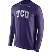 Nike Men's TCU Horned Frogs Purple Wordmark Long Sleeve Shirt