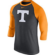 Nike Men's Tennessee Volunteers Gray/Tennessee Orange Baseball Tri-Blend Logo Raglan Shirt