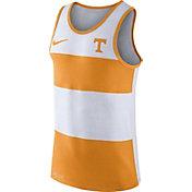 Nike Men's Tennessee Volunteers White/Tennessee Orange Wide Stripe Dri-Blend Tank