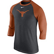 Nike Men's Texas Longhorns Grey/Burnt Orange Baseball Tri-Blend Logo Raglan Shirt