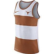 Nike Men's Texas Longhorns White/Burnt Orange Wide Stripe Dri-Blend Tank