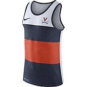 Nike Men's Virginia Cavaliers White/Blue/Orange Wide Stripe Dri-Blend Tank