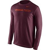 Nike Men's Virginia Tech Hokies Maroon Wordmark Long Sleeve Shirt