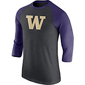 Nike Men's Washington Huskies Grey/Purple Baseball Tri-Blend Logo Raglan Shirt